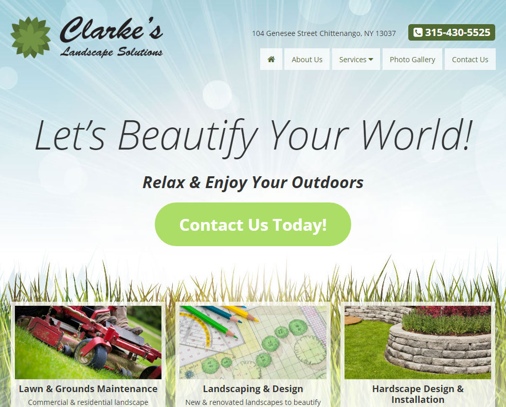 landscaping landing page web design by acs inc web design and seo