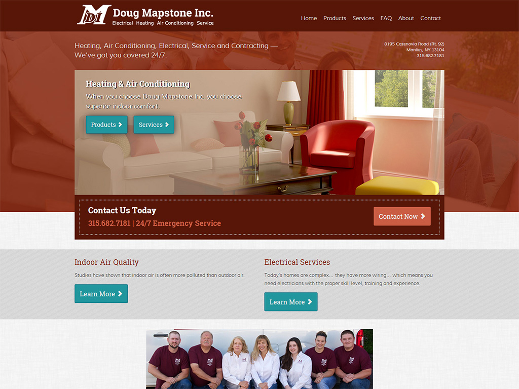 Heating and Air Conditioning Web Design Example