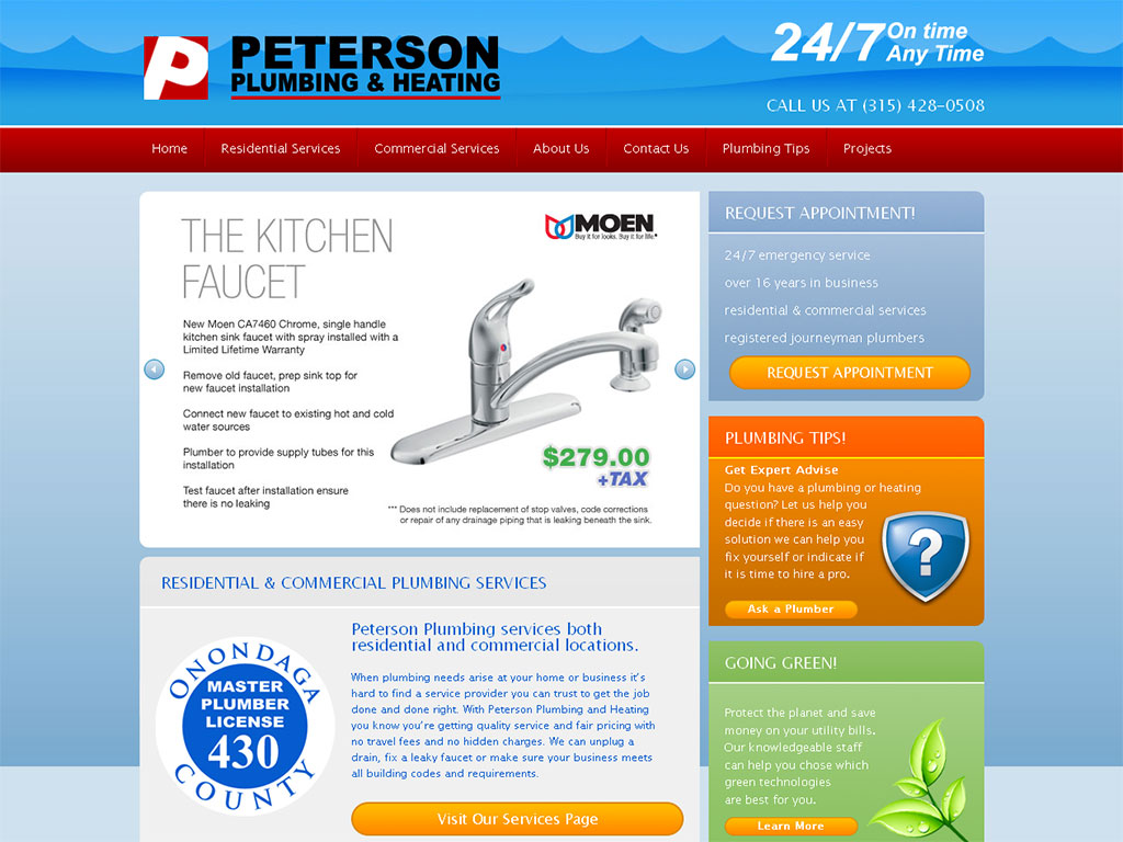 Plumbing and Heating Web Design Example