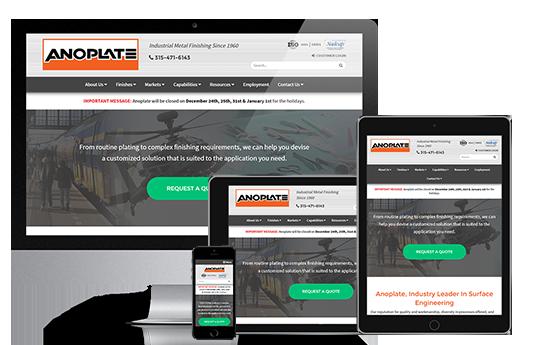 industrial web design anoplate by acs inc web design and seo near syracuse ny