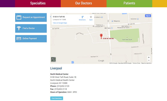 Custom Maps and Location Function in Medical Website CMS