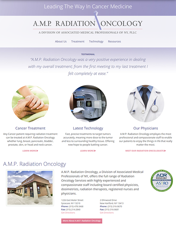 Tablet view of responsive website design for medical office