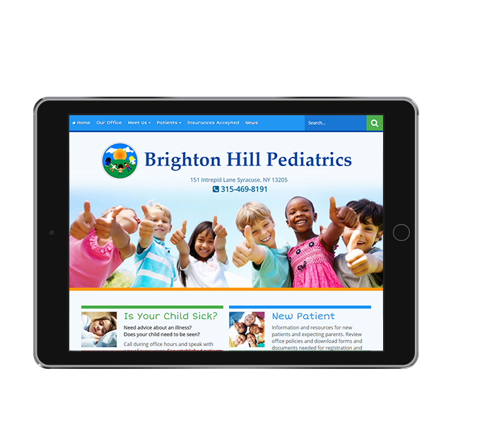 Tablet view for Pediatric Website Design