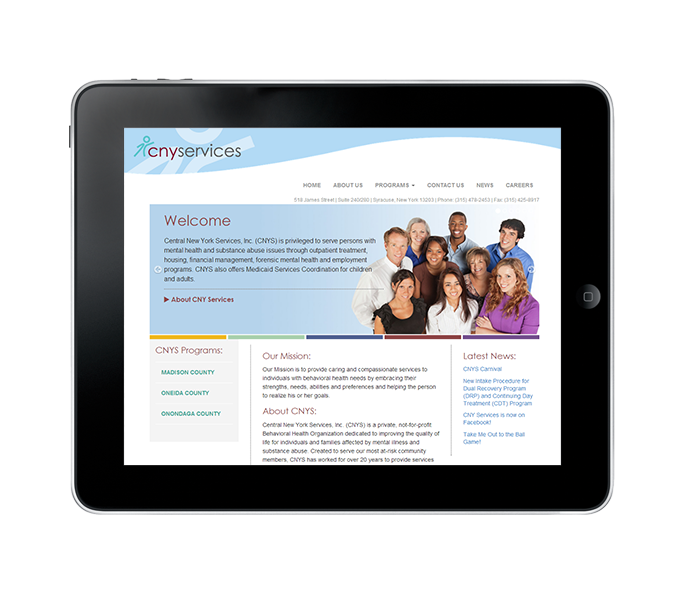 Medical Web Design for Tablets example