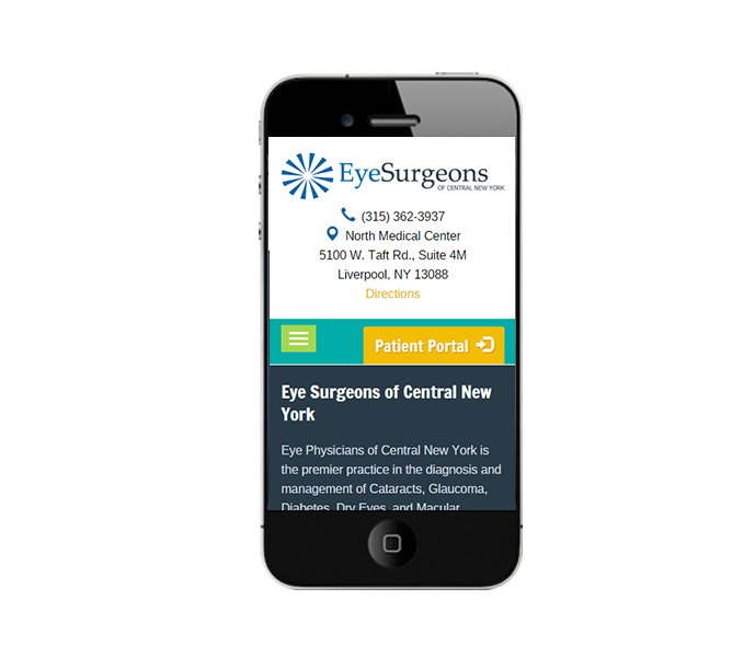 Phone View of Mobile Web Design for Eye Doctors