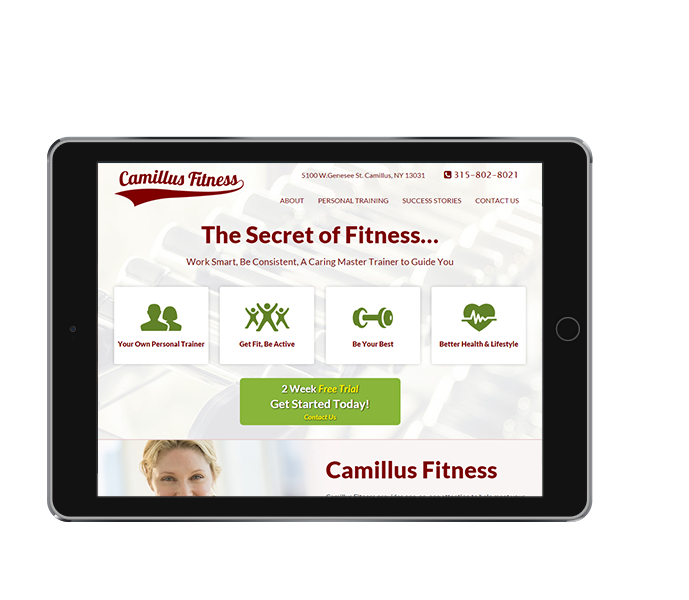 Tablet View of Personal Trainer Website Design