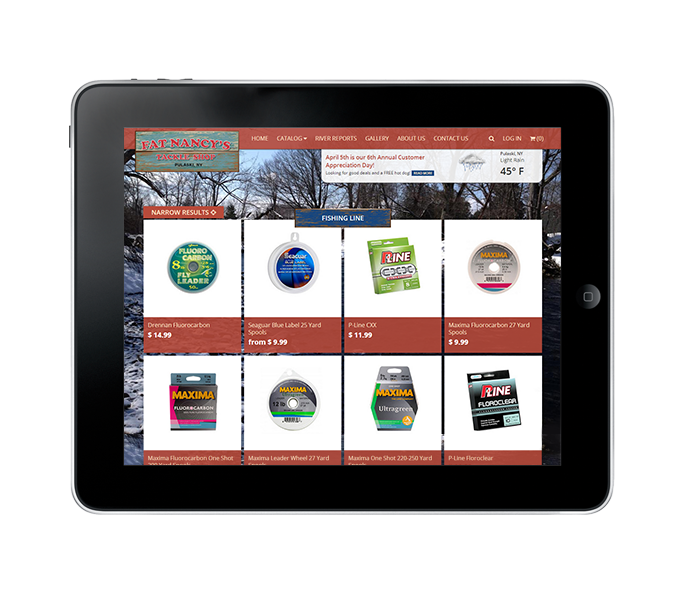 tablet view of fishing product categories web design