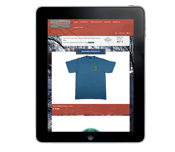 tablet view of fishing apparel website design