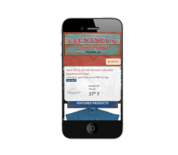 mobile view of fishing report website design