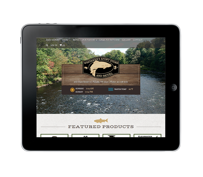 tablet view of ecommerce fishing web design
