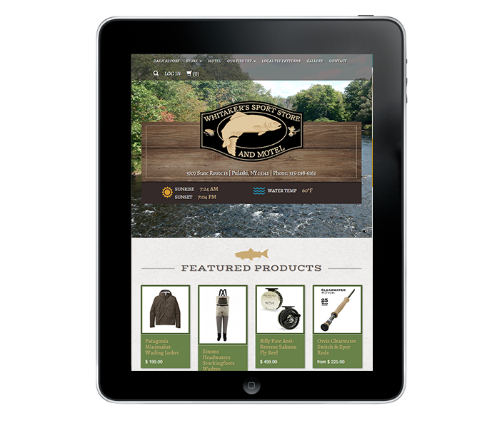tablet view of tackle shop web design