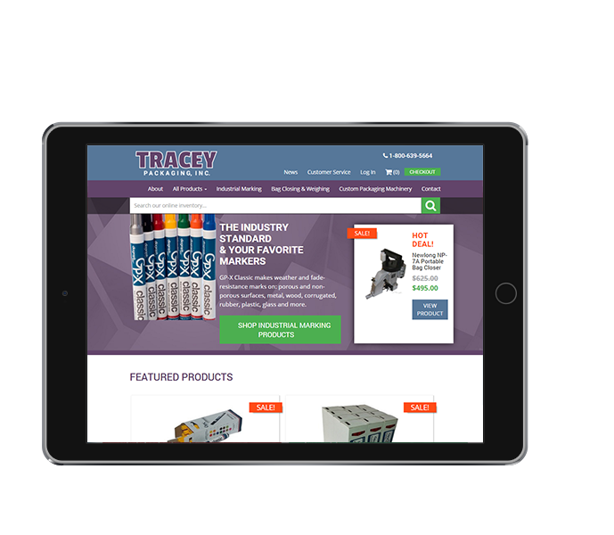 tablet view of packaging equipment ecommerce web design