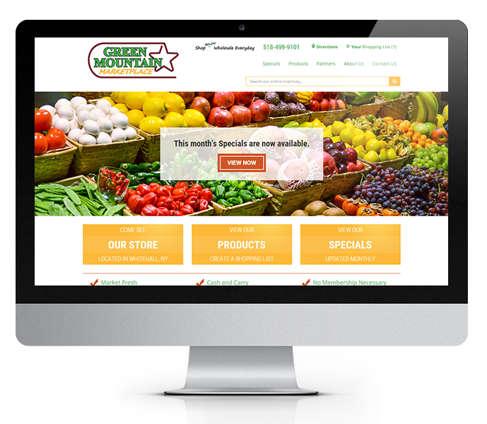 desktop view of responsive grocery store web design