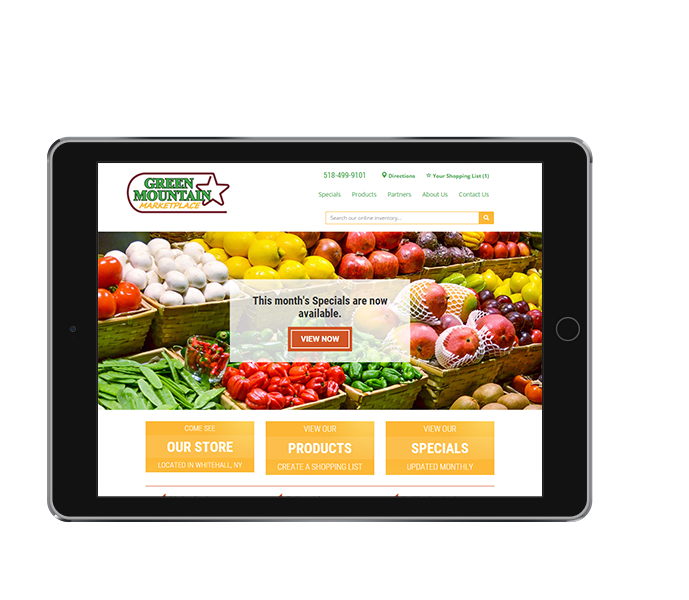 tablet view of responsive grocery store web design