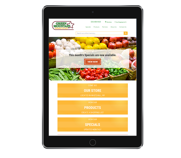 tablet view of grocery store website design