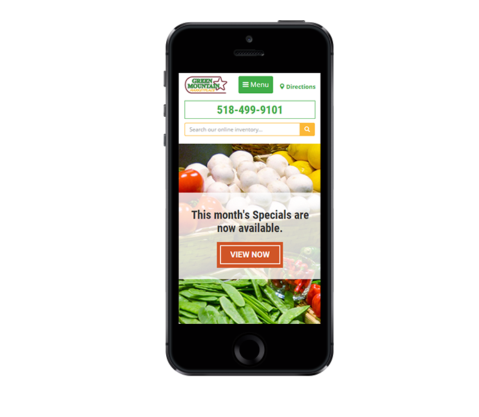 mobile view of responsive grocery store website design