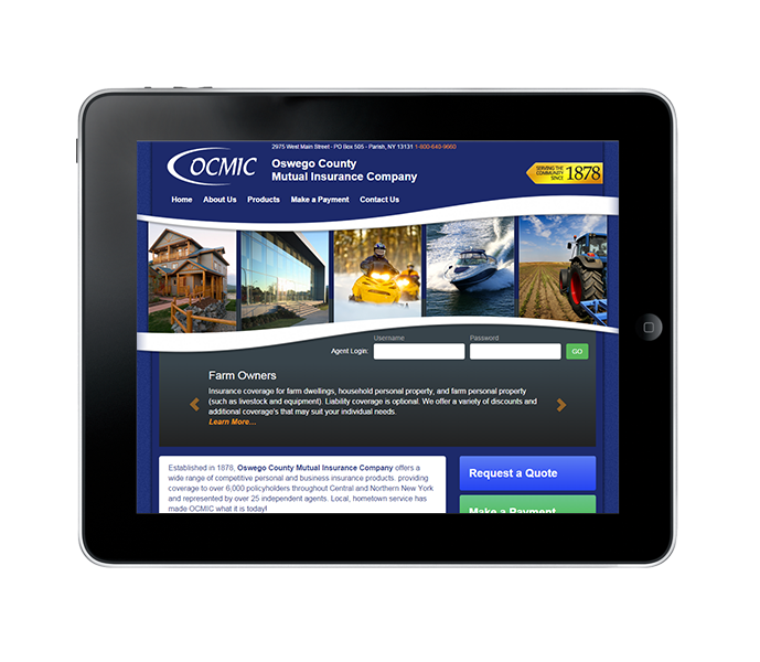 Tablet view for NY Insurance Agent Website Design