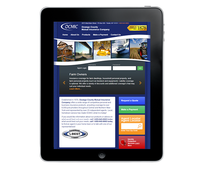 Tablet view for new york insurance agency web design