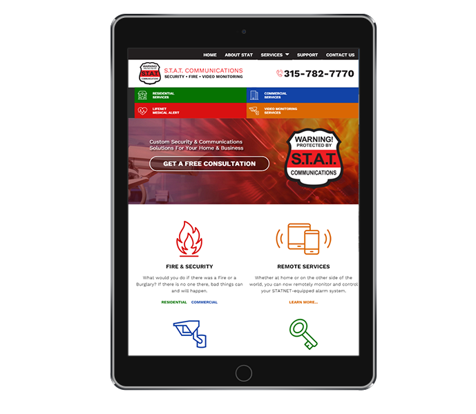 tablet view of commercial security responsive website design