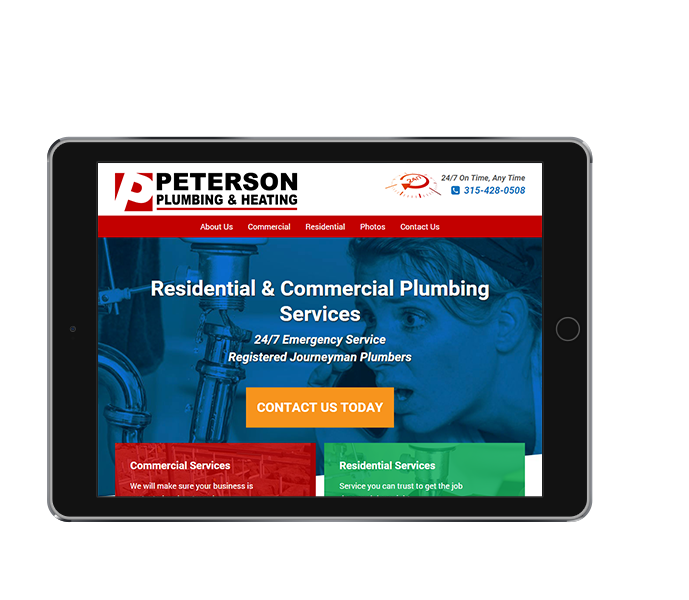 tablet view of plumbing and heating web design