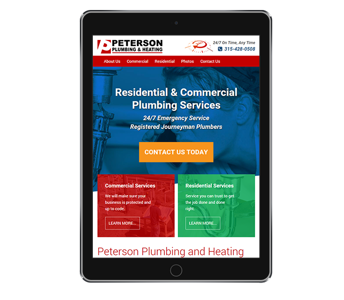 tablet view of plumbing contractor website design