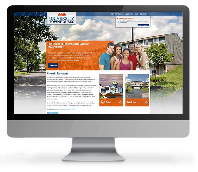 off-campus housing web design desktop view