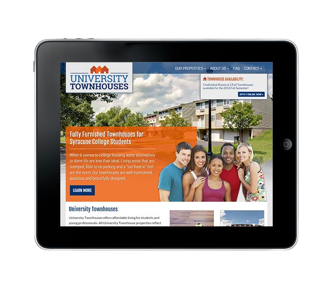 student housing web design tablet view