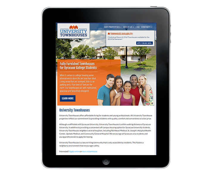 college housing web design tablet view