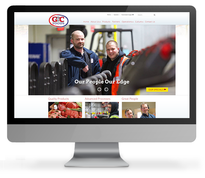 custom cms corporate website desktop view