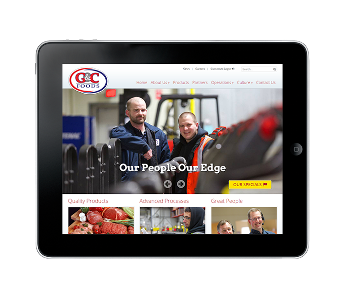 custom cms corporate website tablet view