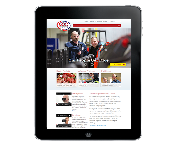 responsive corporate website tablet view