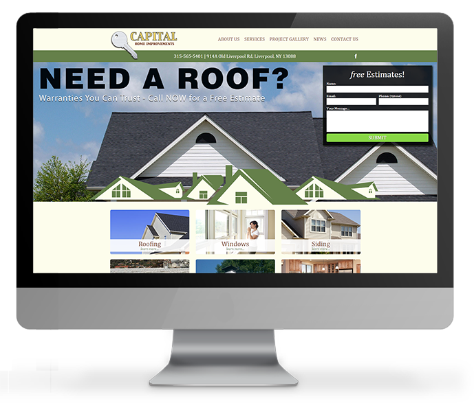 roofing company web design desktop view