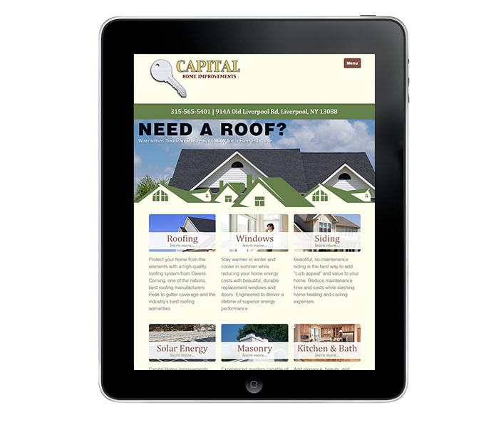 roofing company website tablet view