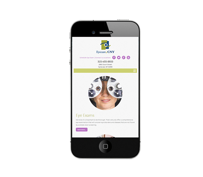 eyecare web design mobile view