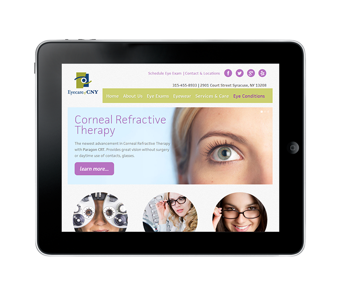 eyecare web design tablet view