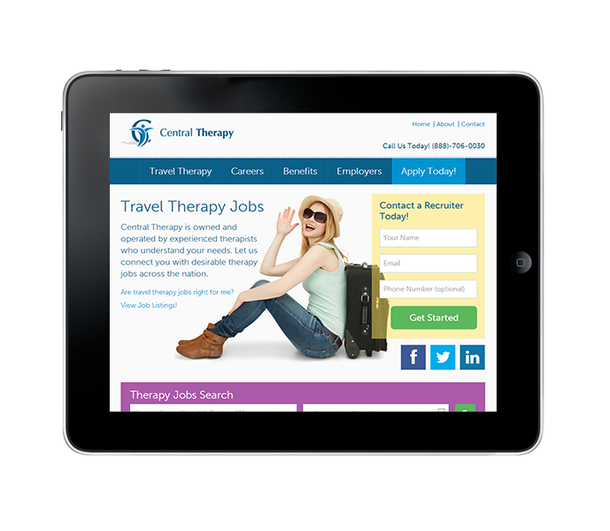 travel therapy job website tablet view