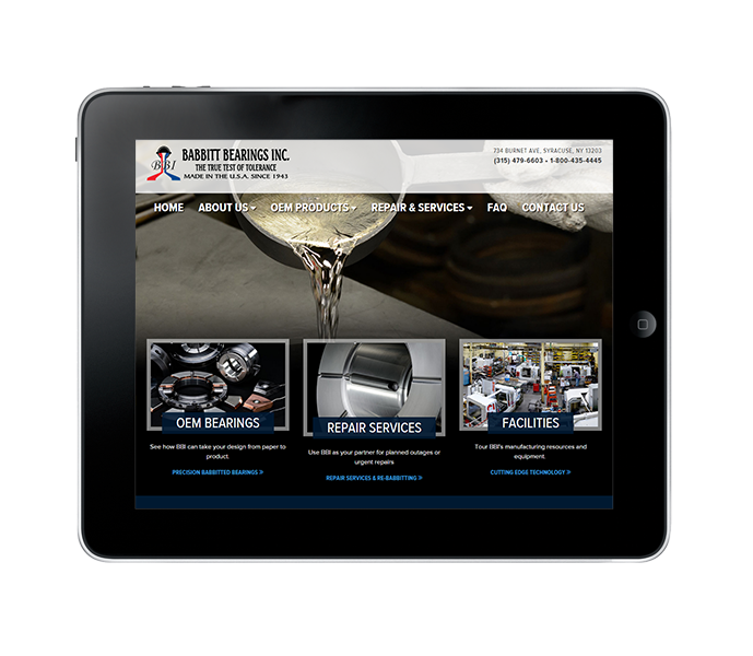 industrial commercial web design ipad view