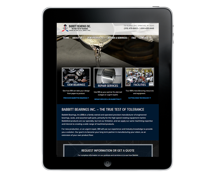 responsive commercial web design tablet view