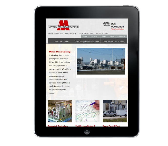 industrial web design tablet view