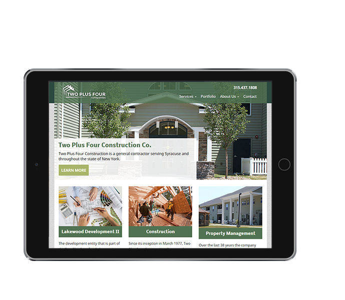tablet view of property management responsive web design