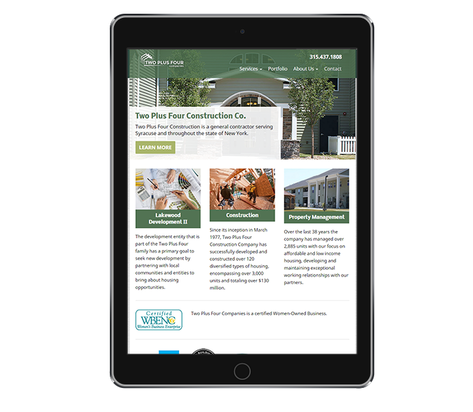 tablet view of business responsive web design