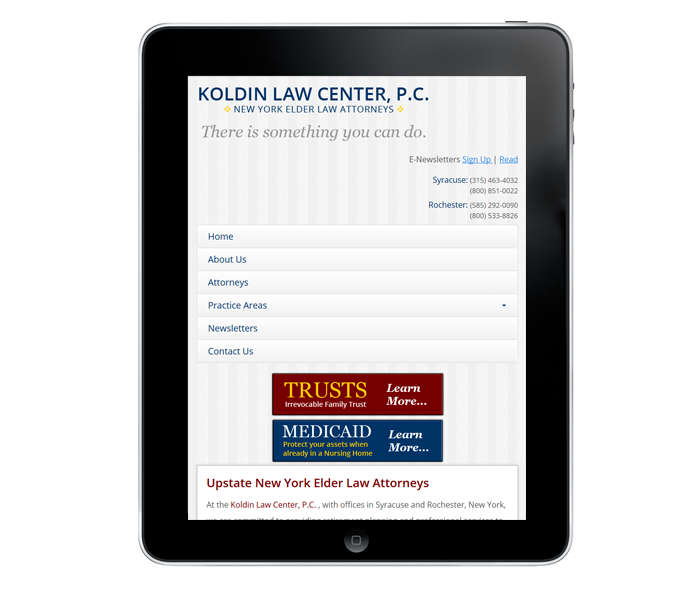 Tablet Law firm web design in syracuse