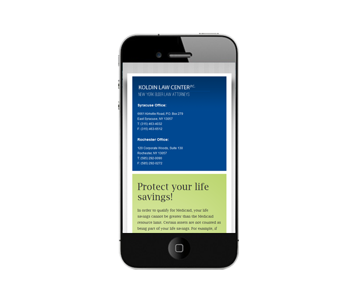 mobile phone web design for elder law firm