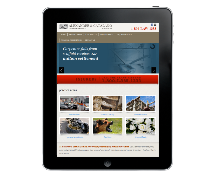 personal injury firm web design in tablet view