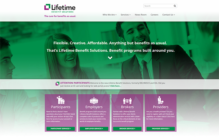 Custom website design for Lifetime Benefit Solutions