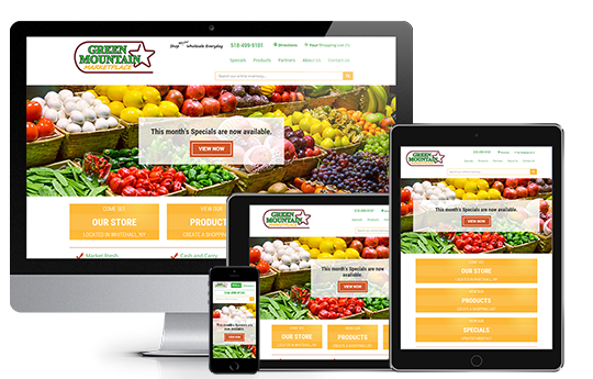 e-commerce web design, green mountain marketplace