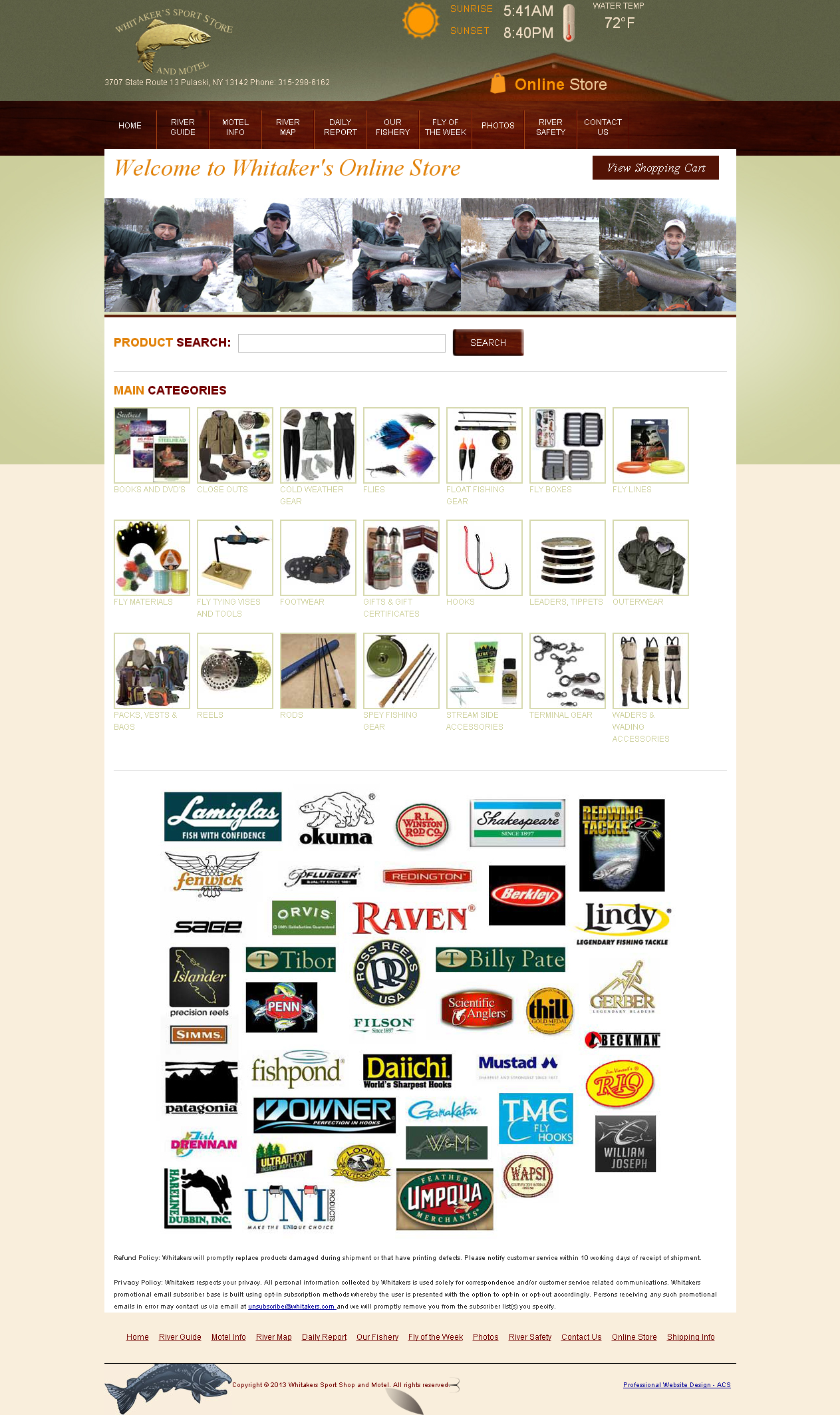 Whitakers sports store and motel homepage