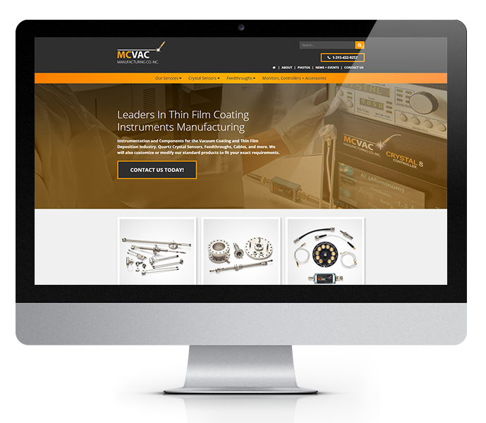 manufacturing website design for mcvac desktop view by acs inc web design and seo