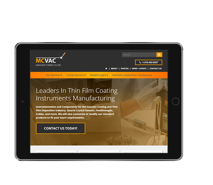 manufacturing website design for mcvac tablet landscape view from acs inc web design and seo