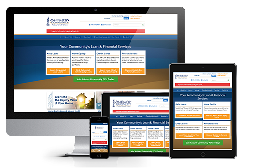 responsive web design for auburn community federal credit union by acs inc web design and seo